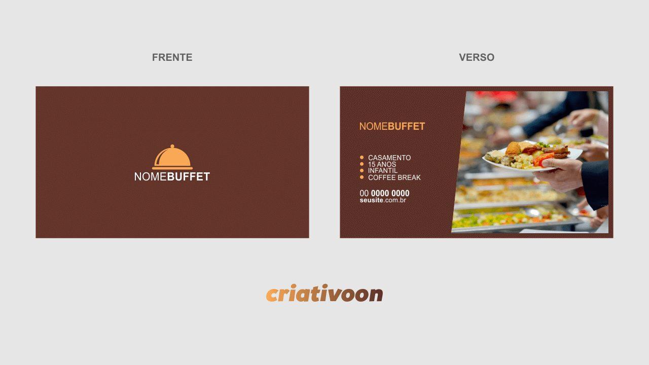 """Esse cartão de buffet faz o estilo """"clean"""" na frente, já no verso, ele faz menção dos eventos que você pode cobrir (casamento, 15 anos, infantil e coffee break), mas você pode editar essas informações, juntamente com os dados do contato cores e imagens do cartão."""