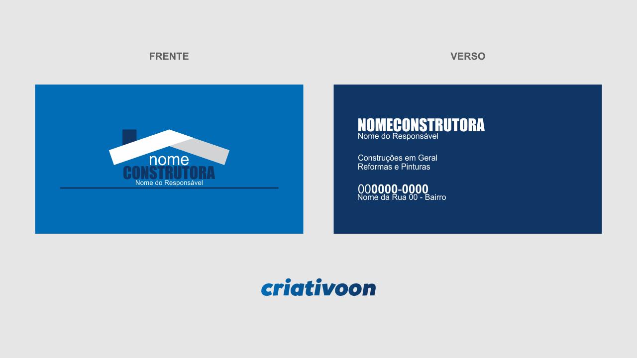 Use esse cartão de construtora para divulgar seus serviços (obras industriais de pequeno, médio e grande porte). Deixe alguns cartões em lojas de materiais de construção, e peça para que os vendedores lhe indiquem.
