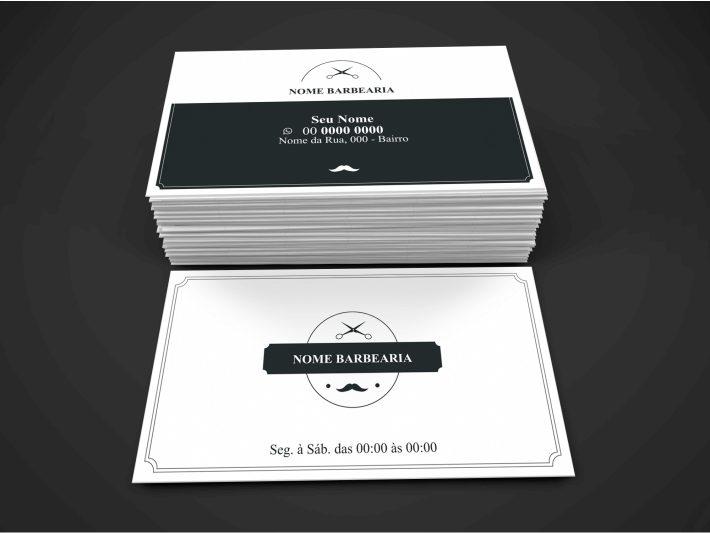 Esse cartão de barbearia tem um design bonito e minimalista, com um cinza escuro e bordas brancas. Somente com o uso de ilustrações de tesoura e bigode. No verso, a marca da barbearia e os dados de contato e endereço.