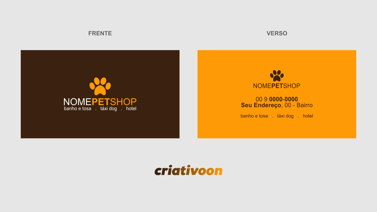 Esse super cartão de pet shop pode ser um agente divulgador do seu pet. Insira os serviços que você oferece: banho e tosa, táxi dog e hotel para cães, por exemplo.