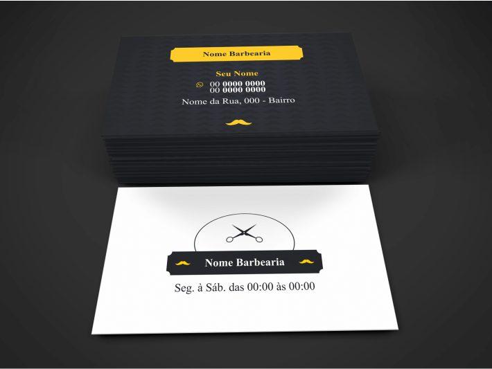 Use esse cartão de visita barbearia para divulgar seus serviços de corte de cabelo e barba. Edite e mande imprimir na melhor gráfica.