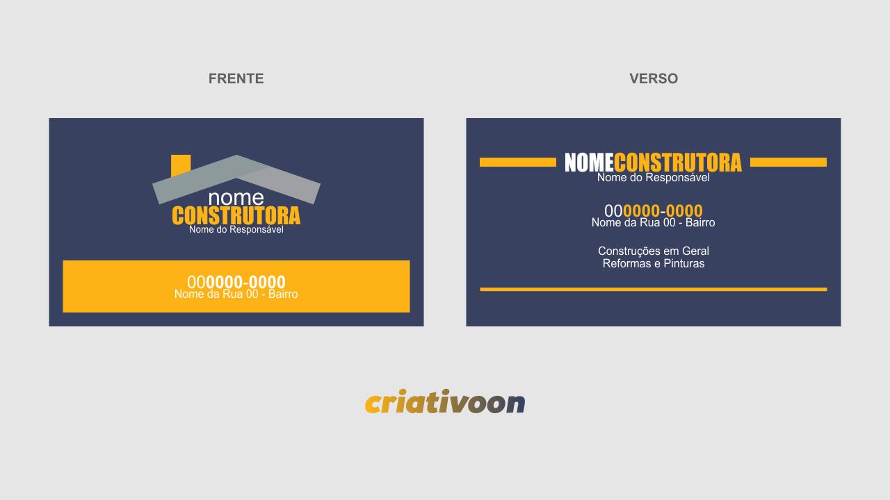 O cartão de visita de uma construtora precisa ser objetivo, atraente e direto, e o cartão de construtora que você vê nessa imagem tem essas características.