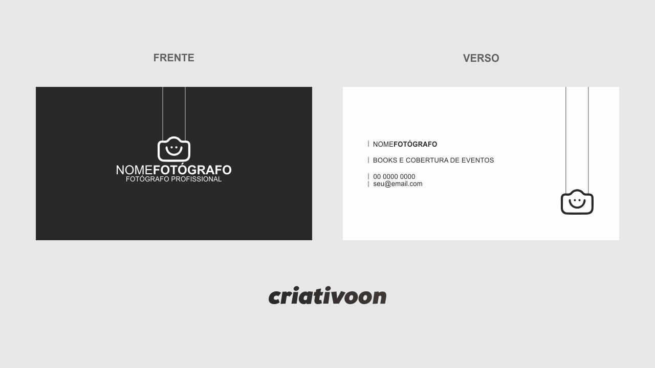 O uso desse cartão de visita fotografia pode ser usado pelo fotógrafo que realiza trabalhos de coberturas de eventos, como casamento e formaturas, por exemplo. É um cartão minimalista mas que trabalha muito bem!