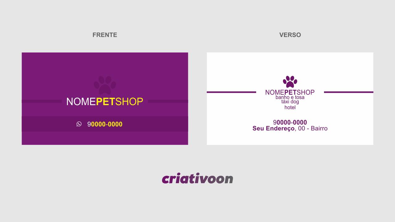 Escolha esse modelo de cartão de visita para pet shop e comece a distribuir para seus clientes. Cartões feitos por designers gráficos profissionais! Peça para os clientes do seu pet shop indicar seus serviços, fazendo com que ganhem um brinde, como um banho e tosa.