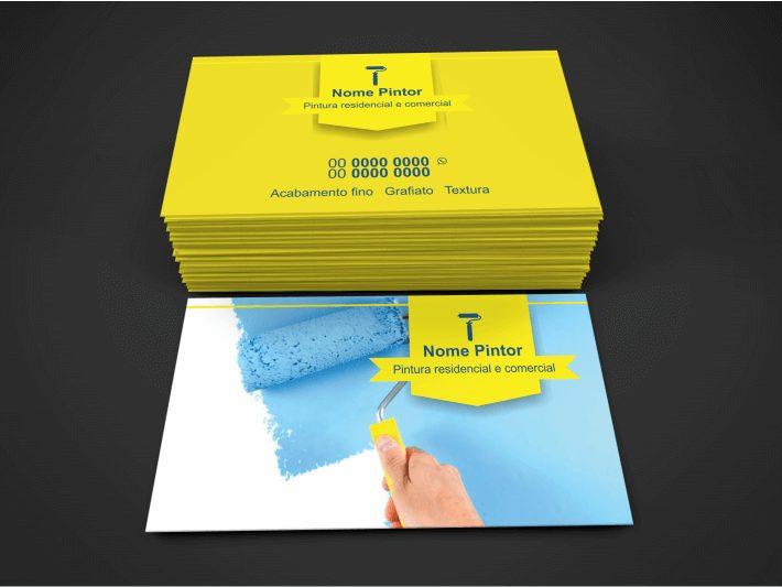 Esse cartão de visita pintor tem um design bonito e profissional e seu tamanho é de 9 x 5 centímetros. Edite os dados e mande imprimir em uma boa gráfica.
