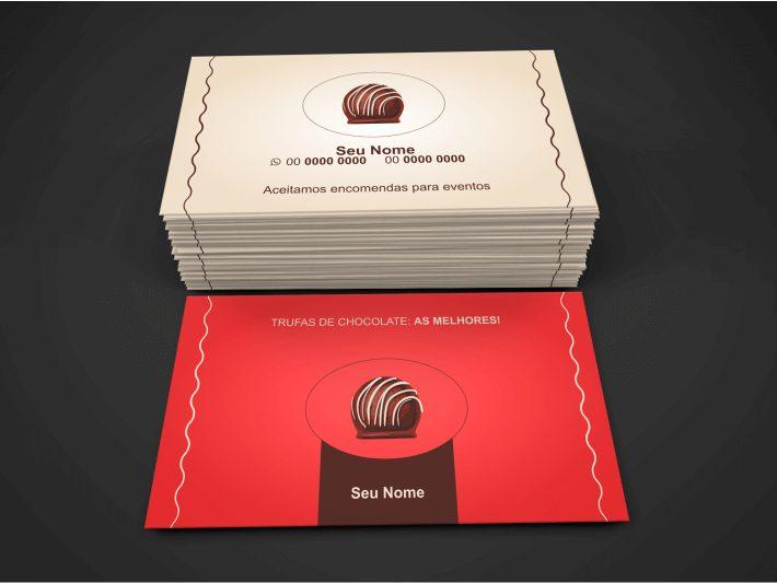 Use esse cartão de visita trufas de chocolate para entregar para todo comprador ter sempre o seu contato, aproveite, esse cartão de trufas é bonito e editável pelo Corel Draw. Mande imprimir em alguma gráfica da sua cidade, veja se é possível deixar o cartão de trufas de chocolate mais chique, colocando um verniz, por exemplo.