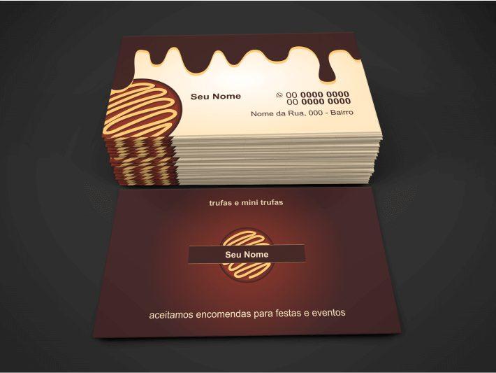 Esse cartão de visita de trufas chocolate é bem objetivo e intuitivo. Com essa calda de chocolate escorrendo, quem o receber vai logo perceber que trata-se de um cartão de uma empresa de chocolates, no seu caso, trufas. Não pense que o cartão de visita de trufas de chocolate não funciona pelo fato de ser simples. Ele pode ser útil quando você vender um bombom, por exemplo, a pessoa vai querer manter seu contato para comprar futuramente.