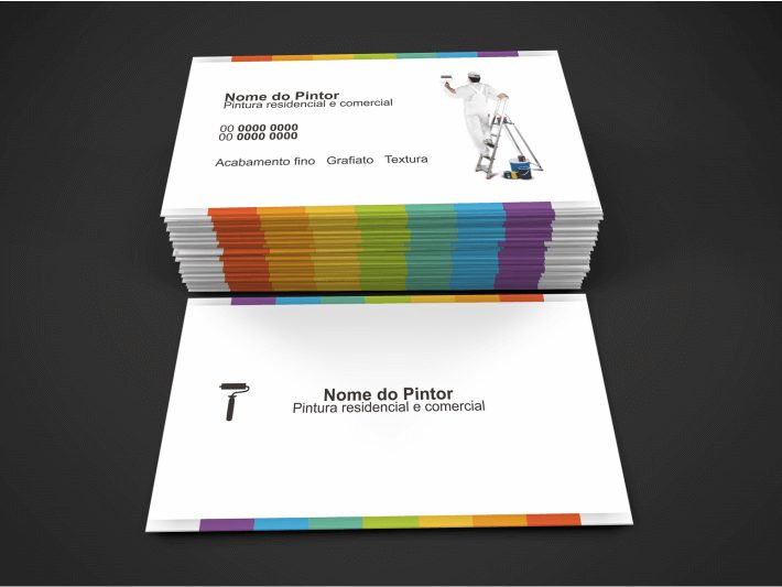Com esse cartão pintor, seus serviços vão aumentar consideravelmente, pois ele fará um ótimo papel de agente pra você, pintor. Com várias cores na frente e no verso. Escolha uma boa gráfica para fazer a impressão.