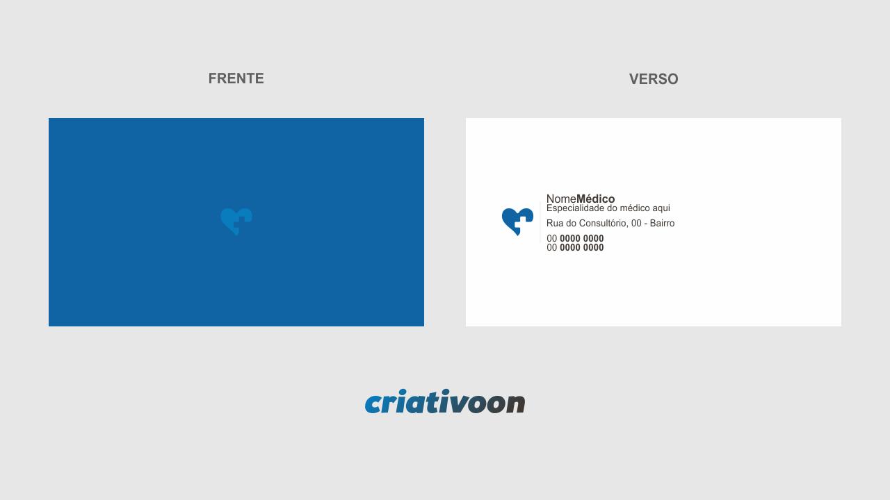 A arte gráfica desse cartão de médico é minimalista e bem objetiva no verso, enfatizando os meios de contato do seu consultório médico.