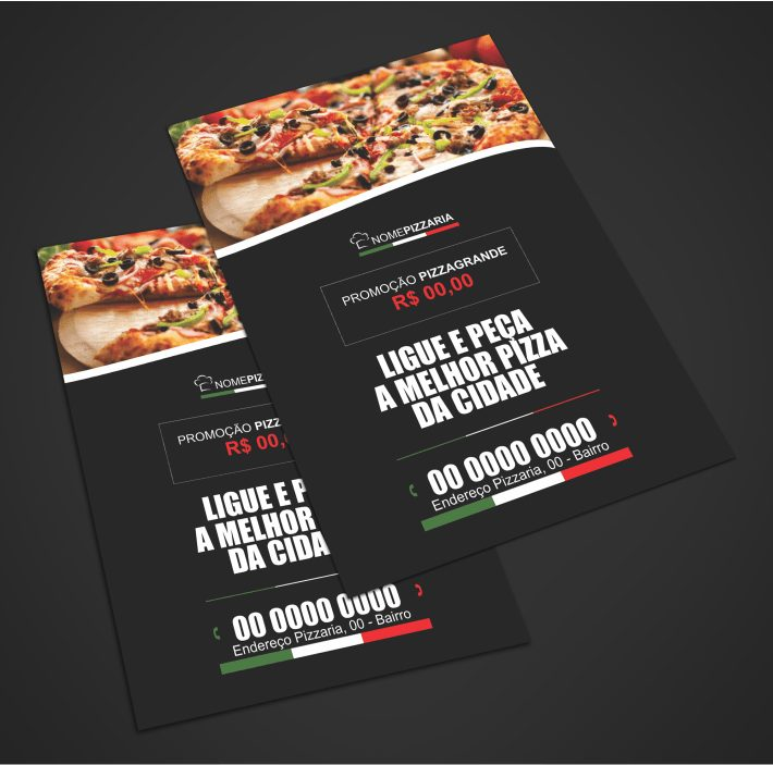 Com esse flyer de pizzaria suas pizzas vão ter muito mais saída. Aproveite para divulgar seu negócio com muito profissionalismo. Coloque alguma promoção, como por exemplo, compre uma pizza e ganhe um refrigerante. Esse flyer de pizzaria é vetor em CDR (Corel Draw).