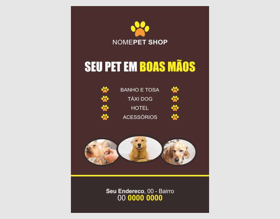 Esse flyer de pet shop pode ser o passo inicial das ações de marketing do seu pet shop. Ele é bonito, cores fortes e chamativo. Com três cachorrinhos na frente, quem o ver, já vai saber que se trata de uma propaganda de pet shop. Sucesso nessa divulgação com esse flyer!