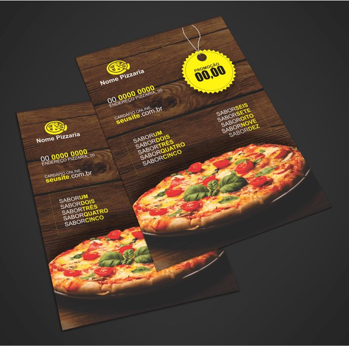 Use esse panfleto de pizzaria para divulgar suas maravilhosas pizzas: calabresa, bacon, quatro queijos, napolitana, marguerita, mussarela, pepperoni e de várias outras. Basta editar a arte do panfleto usando o Corel Draw e mandar para a gráfica imprimir. Esse panfleto é uma boa escolha, no tamanho de 10,5 x 14,8 centímetros.