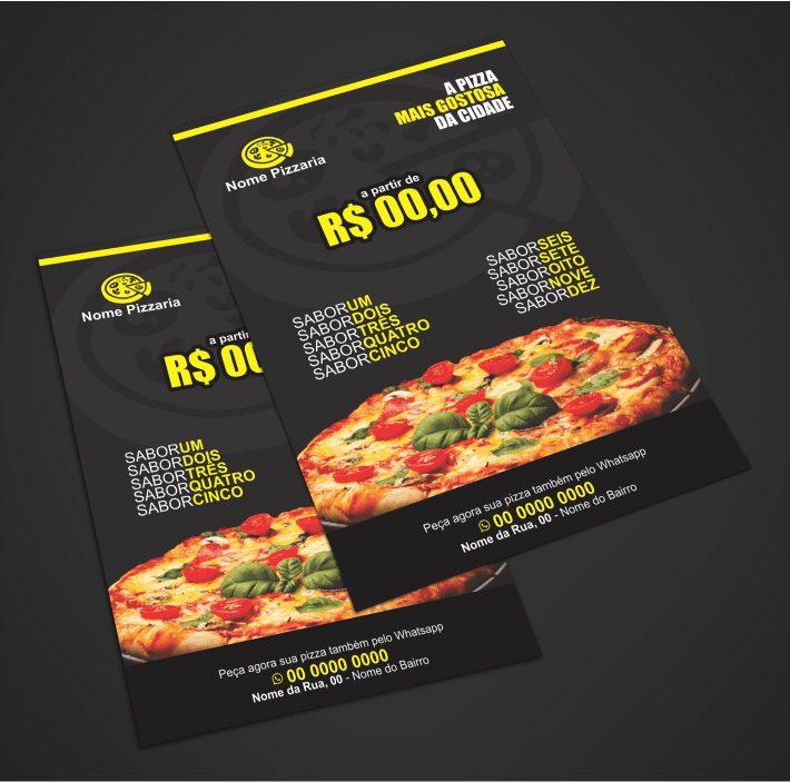 Um panfleto pizzaria para você que quer vender muito mais pizzas na sua cidade. Coloque os sabores das melhores pizzas, como calabresa, pepproni e mussarela. Altere os textos usando o Corel Draw e mande para uma gráfica da sua preferência para imprimir milhares.