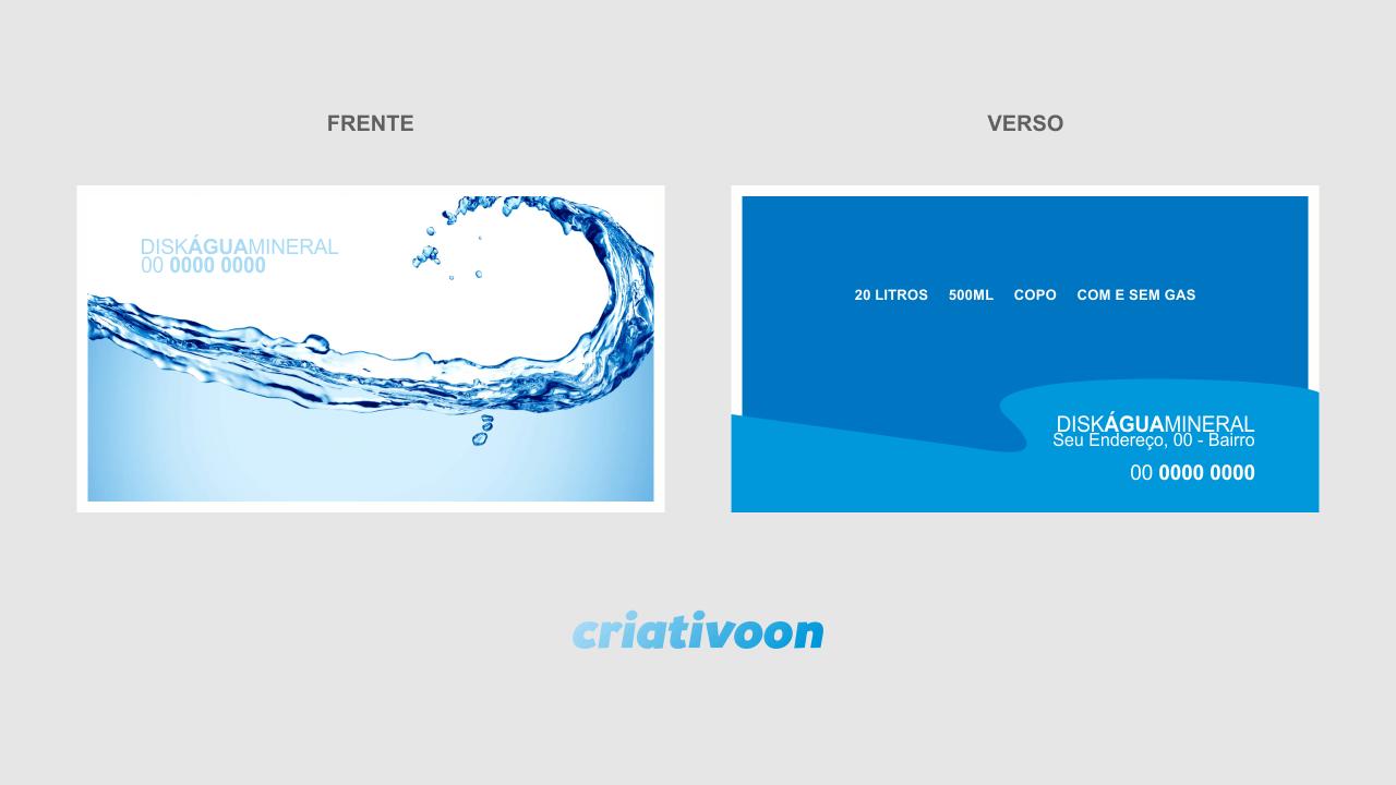 Com esse cartão, você pode simplesmente, sempre que um cliente pedir uma entrega de água em sua casa ou empresa, deixar gentilmente um cartão água mineral e pedir para que ele ligue sempre que precisar de mais garrafões de água.