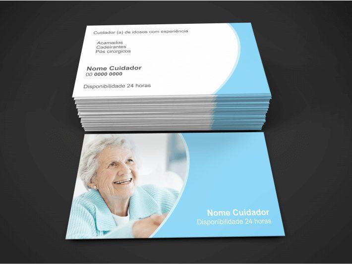 Não pense que essa profissão, cuidador de idosos ou acompanhante de idosos, é uma profissão que não precisa de divulgação e só indicação. Você também precisa se divulgar. E uma boa forma de fazer isso é usando o bom e velho cartão de visita. Esse cartão cuidador de idosos foi criado por profissionais, e pode ser seu!