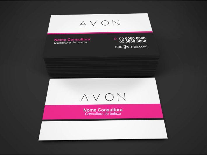 Com esse cartão da Avon vai ficar mais fácil você conseguir clientes para revender os produtos belíssimos da Avon. Imprima ma uma gráfica de qualidade e distribua para os clientes que atender. Esse cartão da Avon é editável pelo Corel Draw.