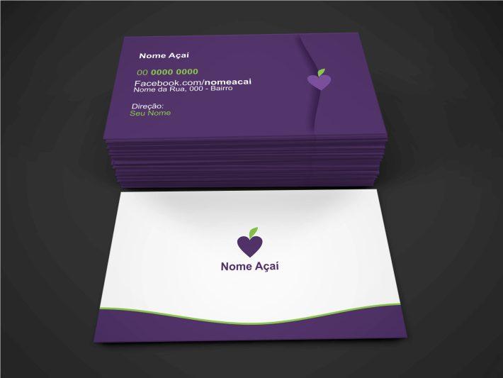 Esse cartão de visita açaí é super cartão minimalista. Ele apresenta, de forma clara, os dados de contato para o caso de delivery do açaí, e também o endereço do seu negócio. Ele é editável, ou seja, você pode editar os dados e cores.