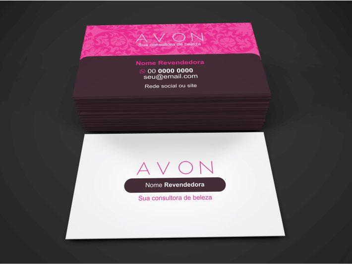Esse cartão Avon vetor pode útil para você revender as maquiagens, perfumes e batons da Avon. Depois de editar, é só mandar imprimir em uma gráfica de qualidade. A arte desse cartão de visita Avon é bonita e profissional!