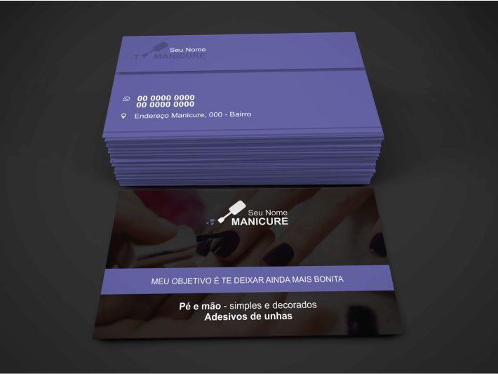 Esse cartão de visita de manicure é super estiloso, com tons de roxo, ele faz o estilo unissex, pois você já deve saber que os homens cada vez mais estão se preocupando também com suas unhas e beleza no geral. A arte vetor desse cartão de manicure tem o tamanho de 9 x 5 centímetros.