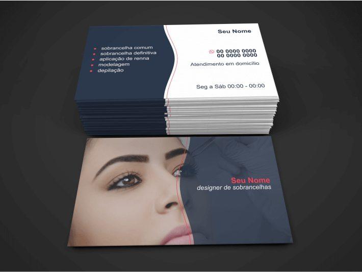 Ei, você designer de sobrancelhas de sucesso, o que acha de usar esse cartão de visita e entregar para os clientes que você atender? Edite o cartão com seus dados de contato e mande imprimir em uma boa gráfica.