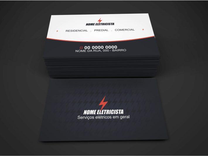 O primeiro passo para melhorar seu negócio é ter um bom cartão de visita de eletricista. Use um logo de um raio em destaque na frente do cartão. Esse cartão de visita eletricista já possui essa característica e você pode usar para divulgar seus serviços pela cidade.