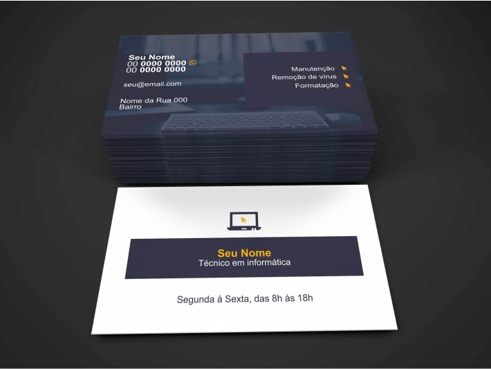 Use esse cartão de visita de informática para divulgar seus serviços de formatação de computadores, remoção de vírus e manutenção em geral. O tamanho da arte desse cartão de informática é de 9 x 5 centímetros.