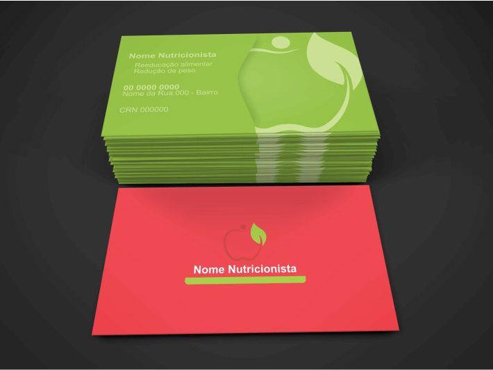 Além de informar seus serviços (reeducação alimentar, redução de peso...) nesse cartão nutricionista, informe também seu registro no Conselho Regional de Nutrição (CRN) e imprima em uma boa gráfica!