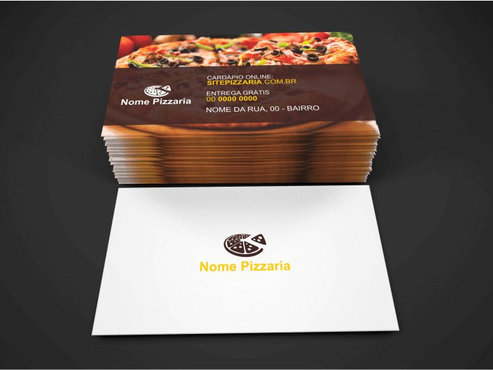 Divulgue suas deliciosas pizzas fazendo uso desse bonito cartão de pizzaria. Edite o cartão de pizzaria e envie para uma gráfica fazer a impressão.