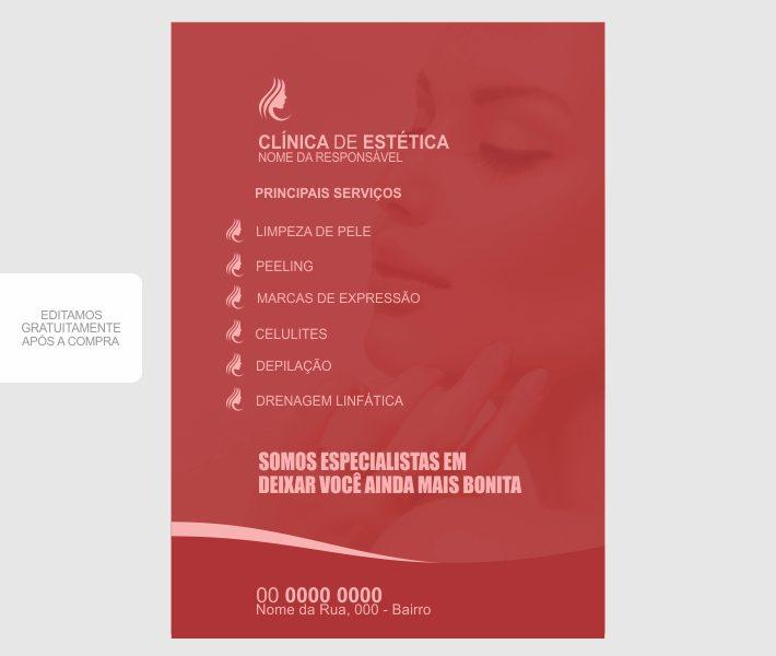 Divulgue sua clínica de estética usando esse modelos flyer de estética. O flyer é profissional e chamativo, na cor vermelha e rosa para chamar atenção dos futuros clientes. Edite e envie para gráfica!