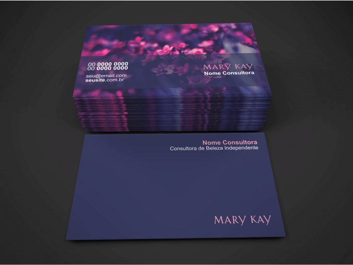 Com esse super cartão de visita da Mary Kay, que conta com um design impecável, com flores e os tons de roxo e rosa na medida certa, será muito difícil não conseguir mais clientes para vender os excelente produtos da Mary Kay que você representa. Esse cartão de visita da Mary Kay pode ser seu agora mesmo.