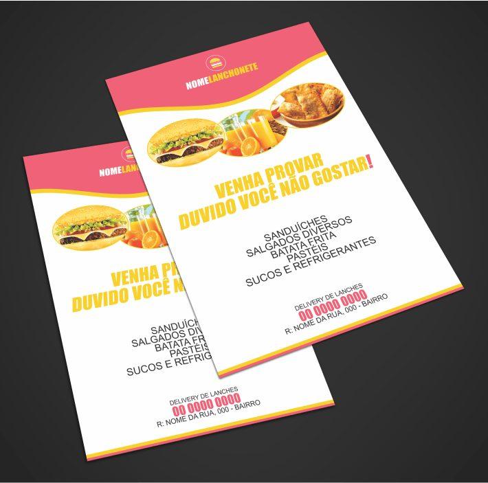 Sua lanchonete precisa usar panfletos para atrair clientes famintos por deliciosos hamburguers! Esse panfleto de lanchonete é indicado para divulgar uma lanchonete tradicional, que vende sanduíches, batata frita e sucos naturais. Você pode editar o panfleto usando o Corel Draw e depois é só enviar para a gráfica!