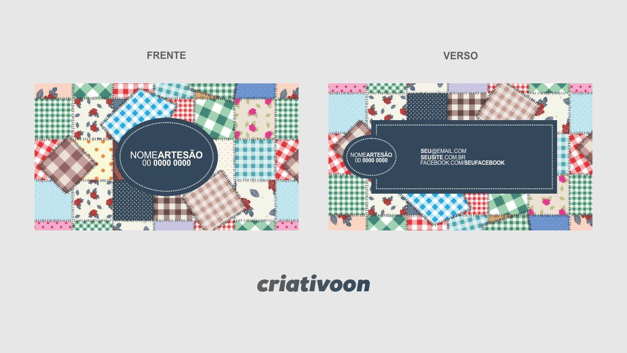 Esse cartão de artesanato possui um fundo com retalhos de pano. Se essa for sua especialidade, você pode usar esse cartão de visita para divulgar sua arte e seus meios de contato.