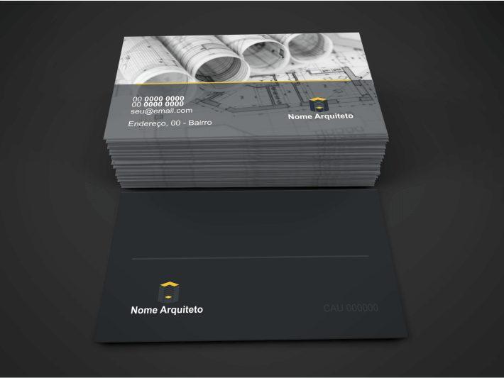 O arquiteto pode optar pelo cartão mais sofisticado e criativo, com arte, cores e efeitos, assim como esse cartão de visita arquiteto que vemos nessa imagem, com uma imagem no verso, mostrando um projeto arquitetônico.