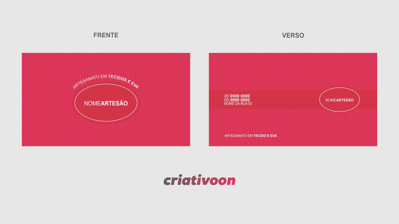 Esse modelo de cartão de visita de artesanato está pronto para você, artesão, que trabalha em tecidos e eva. Edite seus dados de contato e endereço, depois, é só mandar a arte para uma boa gráfica.