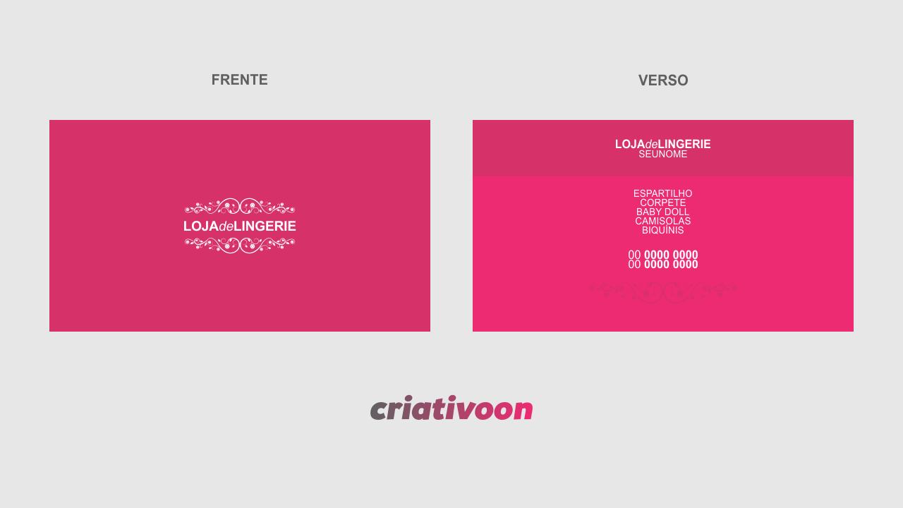 Esse modelo de cartão de visita de lingerie que você vê pode ser editado usando o Corel Draw. É um cartão rosa e com detalhes floral, bem feminino. Ótimo para você divulgar suas roupas íntimas. Imprima esse cartão de visita de lingerie em uma gráfica de qualidade para ter melhores resultados.