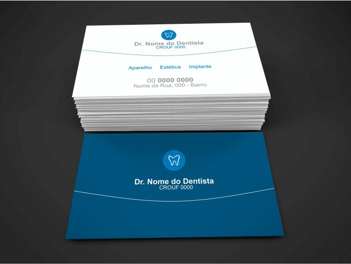 Invista nesse cartão de dentista e veja os clientes da sua clínica odontológica aumentarem consideravelmente. Esse cartão de visita de dentista possui cores leves, branco e azul, uma arte limpa e bonita para divulgar sua clínica odontológica.