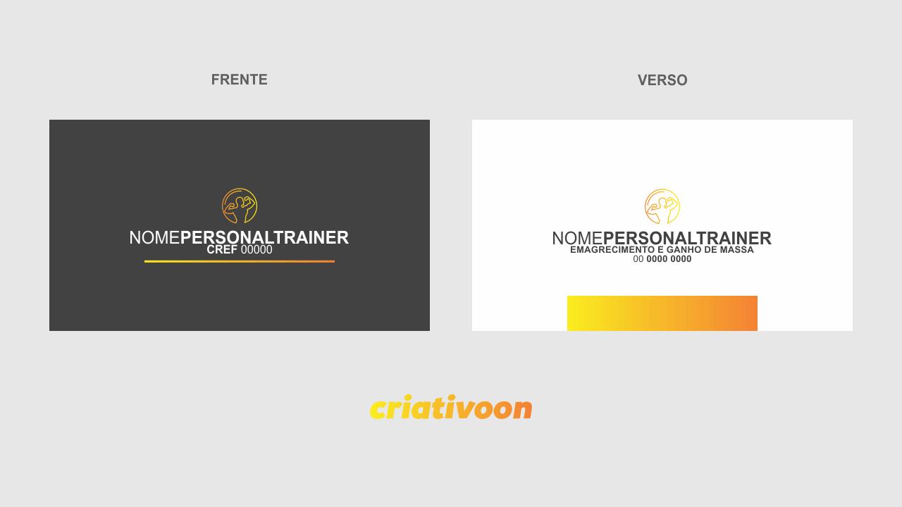 O design desse cartão personal trainer é bem objetivo, contendo um logo e seu nome na frente, no verso do cartão de personal trainer, vemos seus dados de contato e endereço, também sua especialidade.