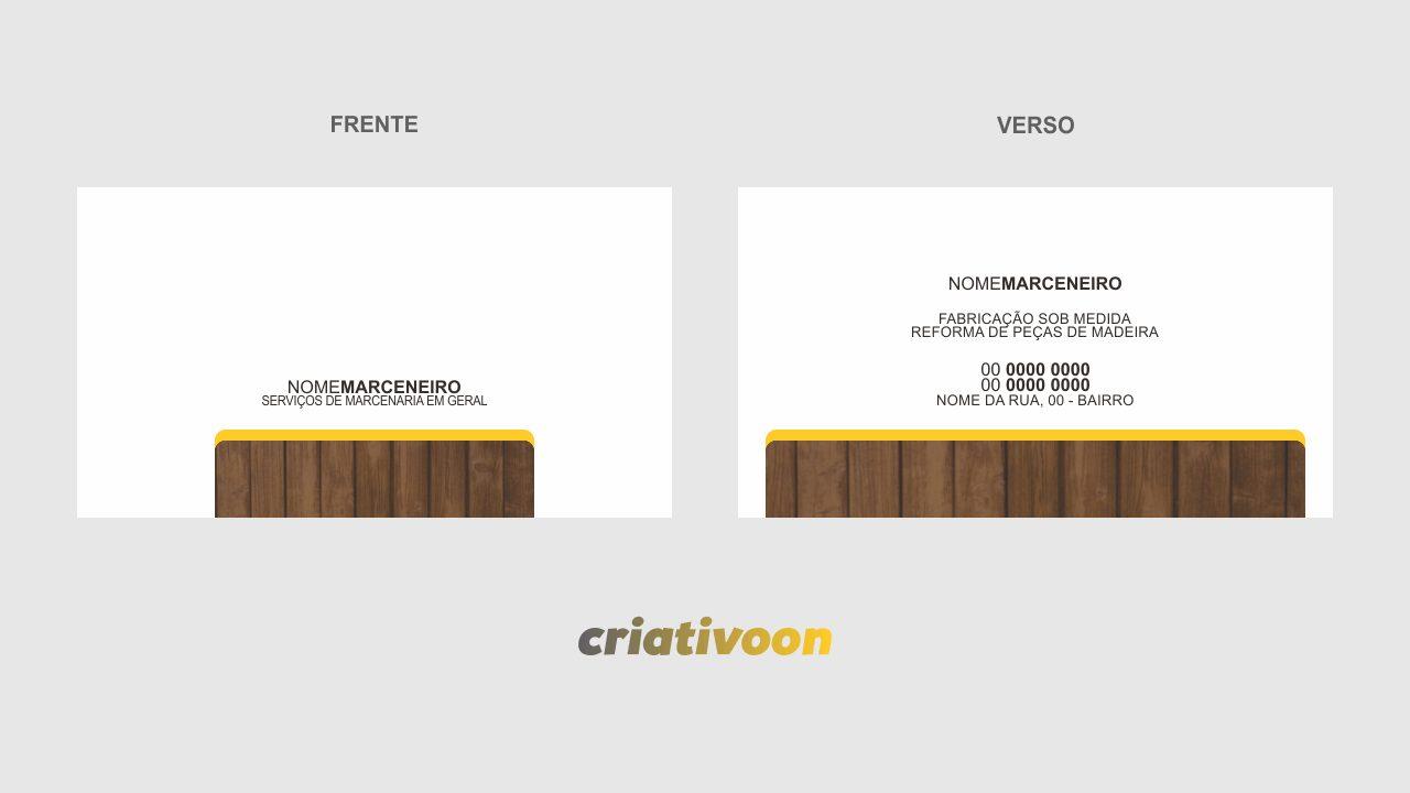 Esse cartão de marceneiro representa muito bem seus serviços com madeira, pois tem, na frente e no verso, uma imagem de madeira. Edite o cartão usando o Corel Draw!