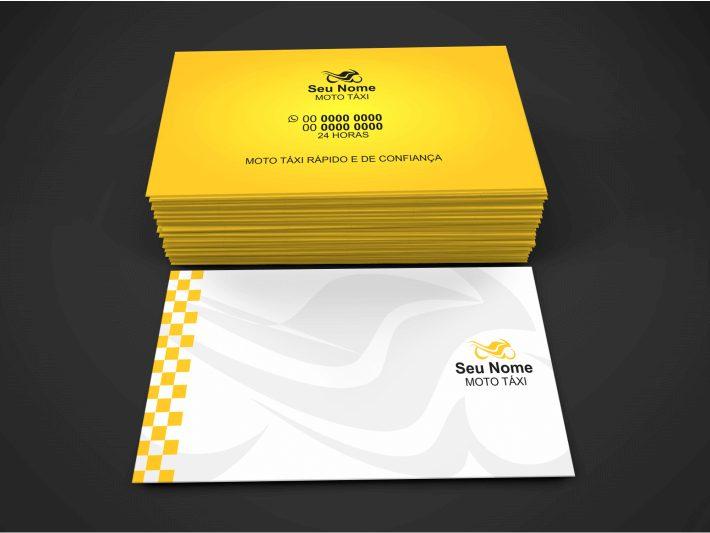 Use esse cartão de mototaxi para divulgar seus serviços de mototaxista. O cartão de visita é simples de editar, pelo Corel Draw. Feito isso, basta mandar imprimir em uma boa gráfica e distribuir.