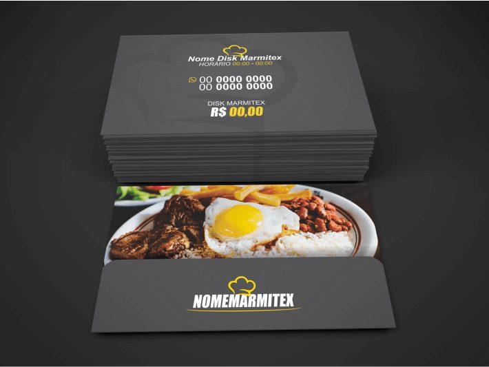 """Um cartão de visita marmitex tem que ser """"clean"""", não pode haver poluição visual, o cliente tem que olhar para o cartão e querer seu serviço de entrega de marmitex. Imprima esse cartão de marmitex, com design profissional, em uma boa gráfica."""