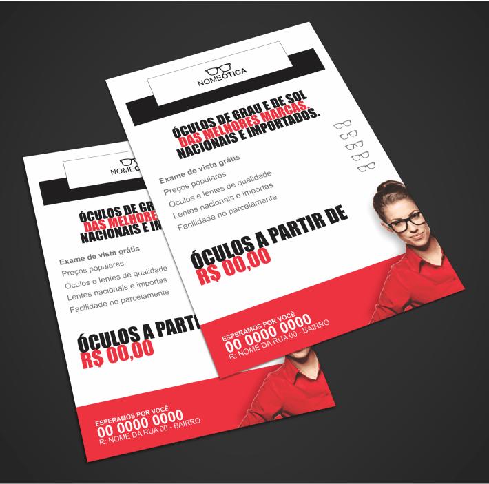 Use esse panfleto ótica para divulgar sua loja de óculos e deixar ela super conhecida na cidade. Um panfleto de design bonito que vai aumentar muito seus clientes. Imprima-o em qualquer gráfica!