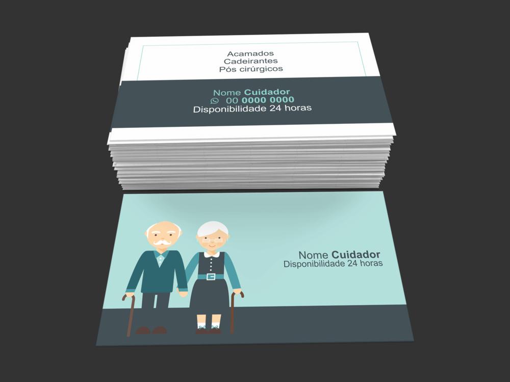 Com o cartão de visita cuidador de idosos, seus serviços de cuidador(a) vão ser vistos com outros olhos, pois são poucos os profissionais da área que se preocupam em fazer uso desse material impresso como parte do marketing. Faço uso desse cartão de cuidador de idosos e saia na frente!