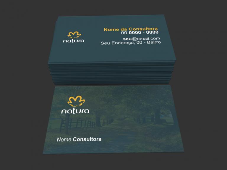 Para se diferenciar como revendedora Natura, utilize um cartão de visita feito por profissionais, que não tire a identidade da marca para qual você trabalha. Criamos um cartão único, utilizando flores de fundo no verso deste cartão de visita natura.