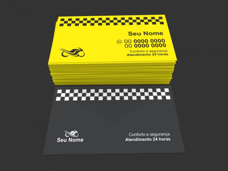 Distribua o cartão de visita moto táxi para qualquer pessoa, pois nunca se sabe quando vamos precisar de uma moto para nos levar ou trazer de algum compromisso com mais urgência, serviço que o moto táxi deve oferecer com excelência! A o tamanho desse cartão de moto táxi é de 9 x 5 centímetros.