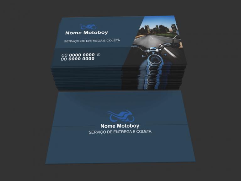 Em seu cartão de visita motoboy, abuse de detalhes que podem remeter ao serviço que você oferece, como entrega e coleta, serviço de cartório e de banco, por exemplo. Para isso, você pode optar por usar um modelo padrão de cartão de visita de motoboy, com a imagem de uma moto de fundo e/ou uma caixa de entrega.