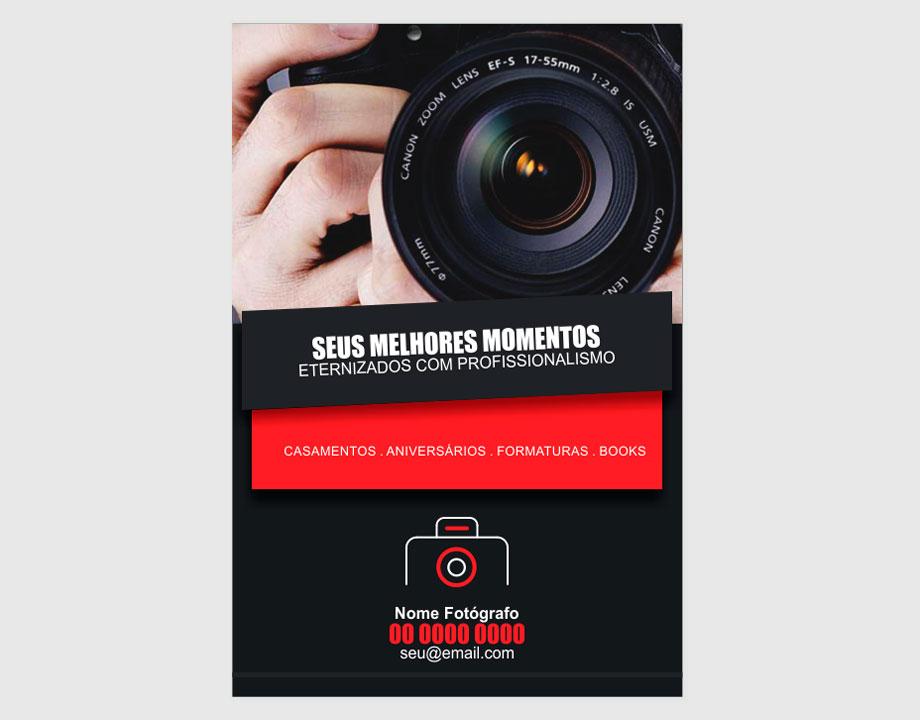 Use esse flyer de fotógrafo para divulgar seus serviços de cobertura de festae eventos em geral. Esse panfleto foi feito especial para você, fotógrafo! Boa propaganda!