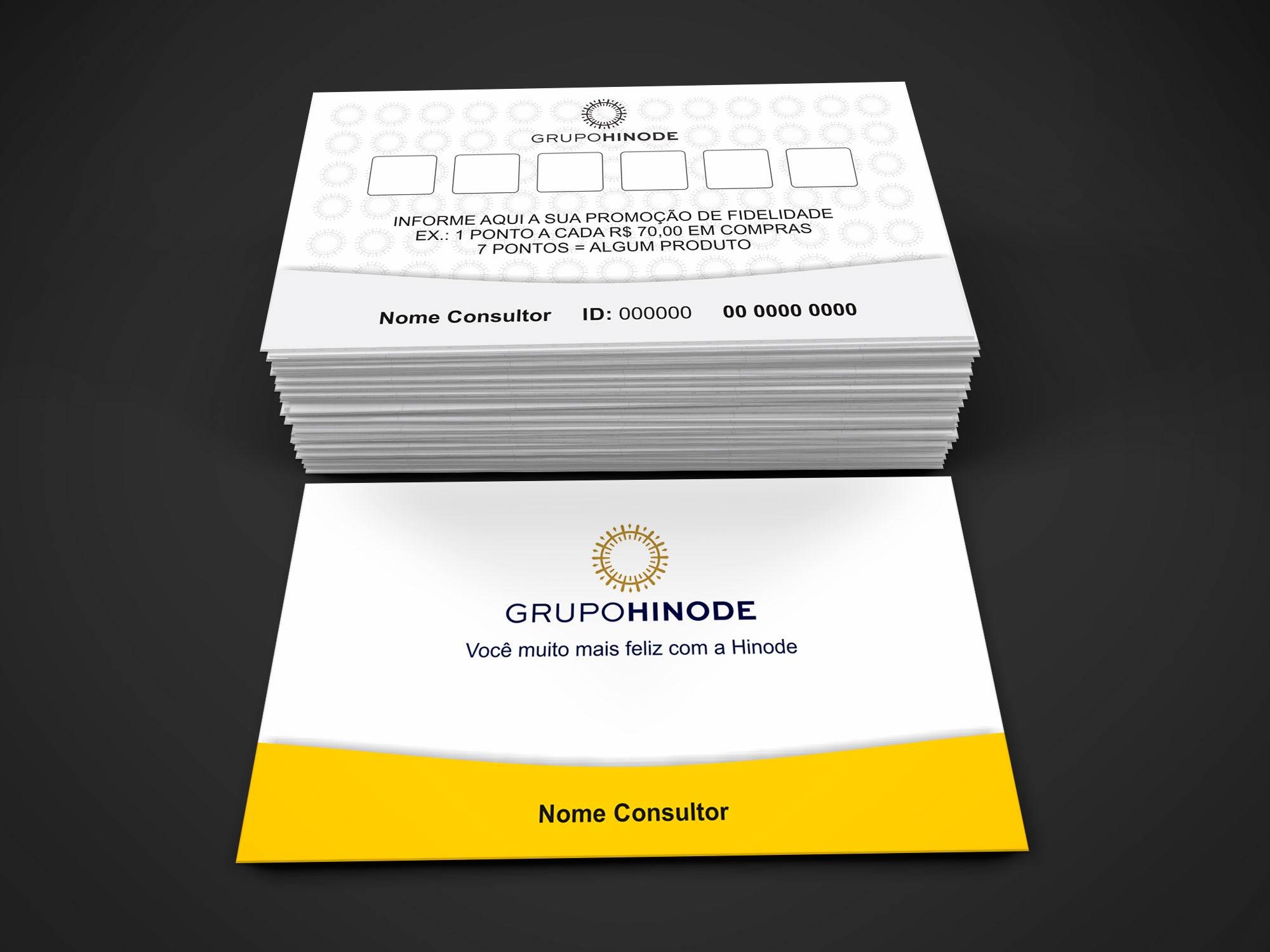O cartão fidelidade Hinode é bem simples. Você pode usa-lo para dar pontos para seus melhores clientes. A cada compra, você marca um dos quadradinhos do verso do cartão e quando ele fizer 6 compras, ganha um brinde, como um desconto, por exemplo.