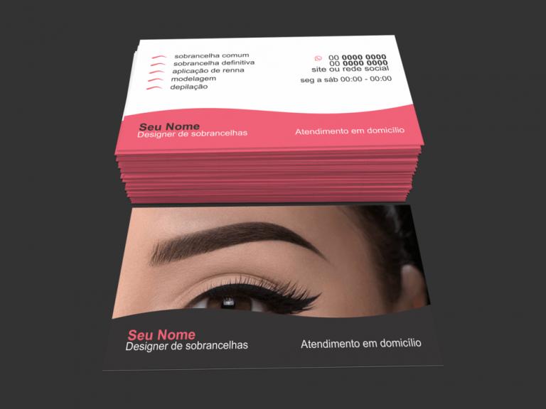 cartão de visita designer de sobrancelhas - Modelo 01